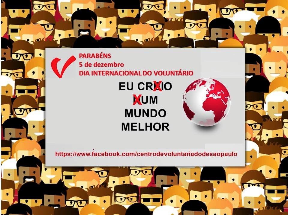 Cartão Dia internacional do voluntário CVSP