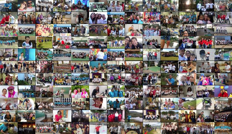 Montagem com foto de ações voluntárias
