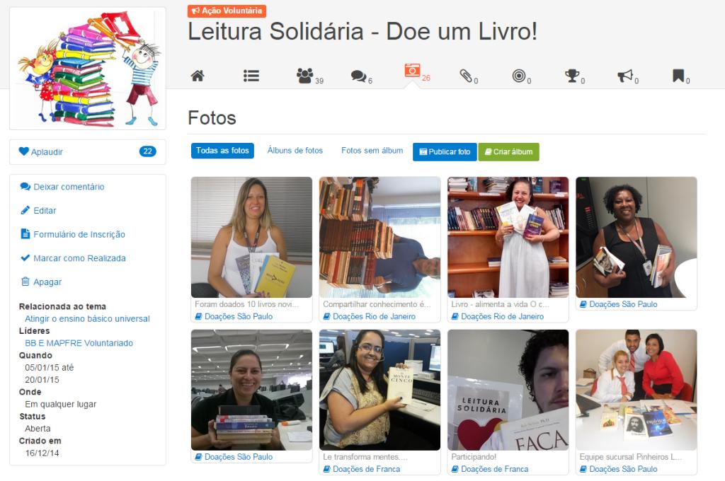 """Ação """"Leitura Solidária - Doe um Livro"""" do Portal do Voluntariado BBMapfre. Voluntários foram convidados a postar fotos de suas doações durante a ação."""
