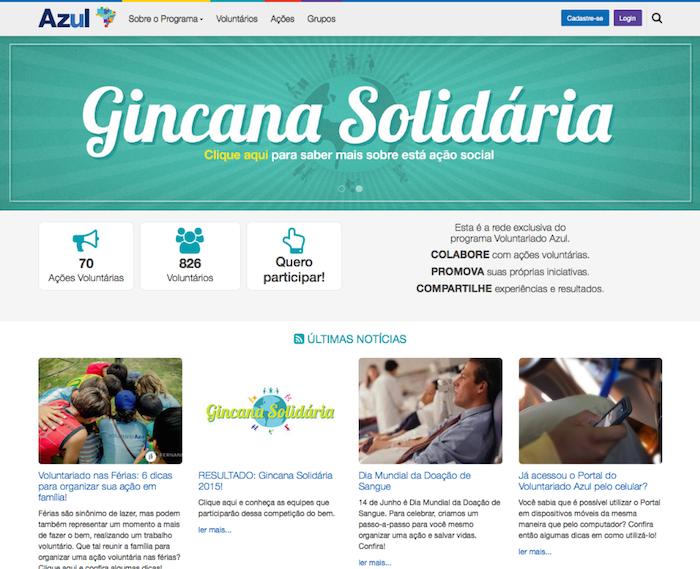 Seção de Notícias do Portal Voluntariado Azul