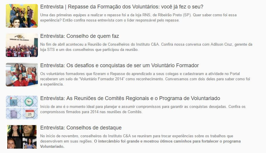 Entrevistas realizadas com voluntários e publicadas no Portal de Voluntariado do Instituto
