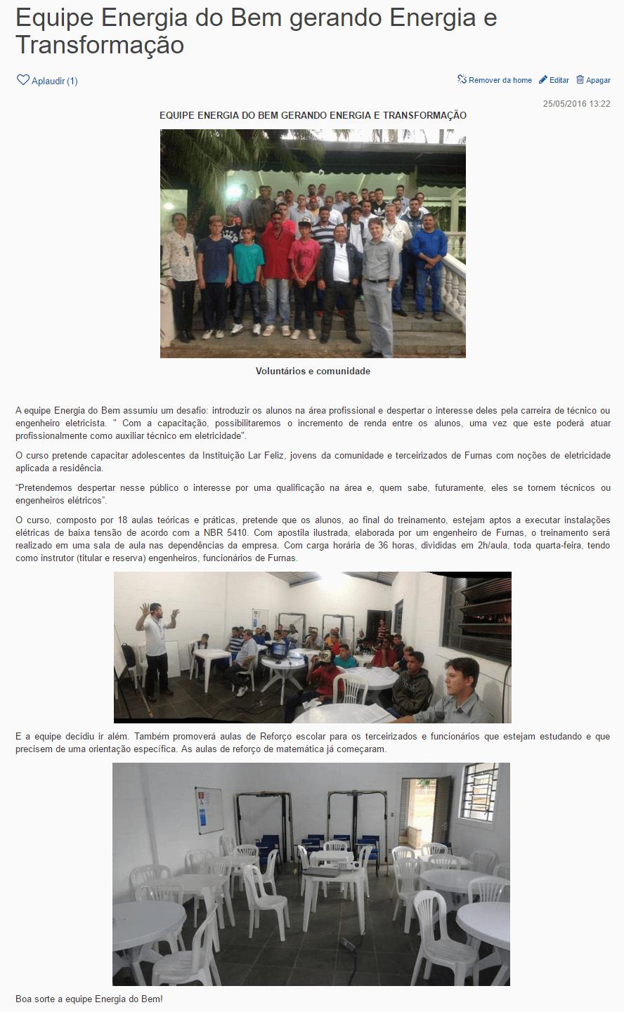 Portal Furnas de Voluntariado - Matéria destaque com equipe participante da Gincana